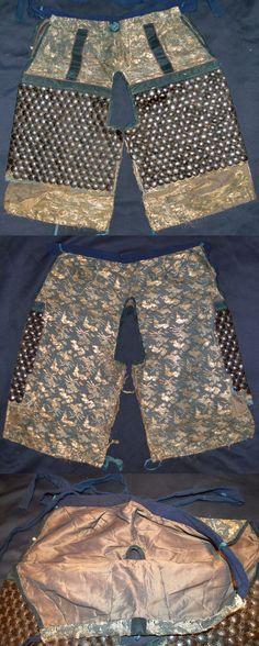 "Yoroi hakama (armored pants), brocade cloth with kikko armor attached to the thigh area. These are short pants (ko-bakama), the addition of kikko armor would make these ""kikko kobakama""."