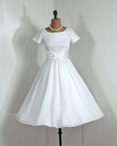 Wedding or Formal Dress, Betty Lane: 1950's, satin-lined sheer eyelet organza.