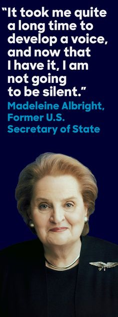 On January Madeleine Albright—an accomplished diplomat, author, and… Madeleine Albright, Women In Leadership, Women In History, Powerful Women, Strong Women, Humanitarian Quotes, Role Models, Quotes To Live By, Motivational Quotes
