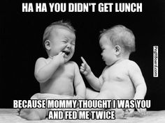 Funny I love my Twin Quotes and Sayings for Birthdays, Sorority and Yearbook. These twin quotes are for boys and girls and brother and sister twins. Twin Quotes Funny, Funny Baby Memes, Funny Babies, Funny Kids, Funny Cute, Funny Jokes, Baby Jokes, Baby Humor, Funny Captions