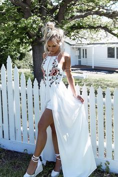 Sheinstreet New Stylish Women Fashion White Bohemia Floral Sleeveless Front Split Maxi Dress WHITE Maxi Playsuit, Maxi Shirt Dress, White Playsuit, Jumpsuit Dress, Prom Dress, Plus Dresses, Sexy Dresses, Evening Dresses, Long Dresses