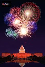 Fireworks over the Panorama of the Capitol Building, District of Columbia,  Washington, USA. Happy 4th of July!