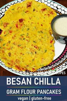 Besan chilla are simple savory pancakes made with gram flour, spices and herbs. These make for a great breakfast and can be eaten with a chutney or tea. #indianrecipes #glutenfree #vegan #pancakes #breakfast