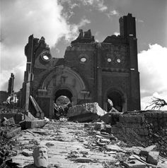 A Urakami Cathedral lies in ruins after one of the two atomic bombs used against Japan exploded in Nagasaki.