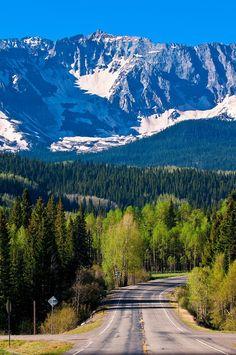 Colorado Highway 145, San Juan Mountains near Telluride, Colorado USA