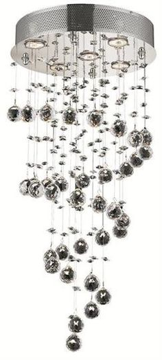 "Bernadette - Hanging Fixture (5 Light Contemporary Hanging Crystal Chandelier) - 1721D16  ➤ Dimensions: W/D 16"" x H 32"""