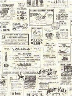 ADAMSTOWN CREAM VINTAGE NEWSPAPER - Wallpaper   This is our new bathroom wallpaper !!  :-)