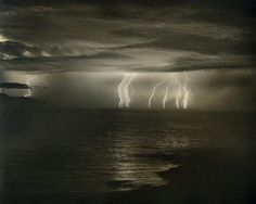 "dame-de-pique: "" William L. Morgan - Lightning Over Monterey Bay, 1958; """