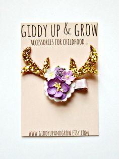 Antlers Hair Clip Glitter Hair Clip Baby Bow by giddyupandgrow