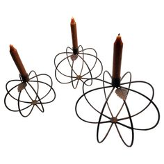 """GiftBay 1057(S/3) Pumpkin Candle Holder Set of 3 Pieces, Iron 8"""", 7"""" & 6"""" Height"""