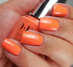 OPI Infinite Shine: ☆ Endurance Race To The Finish ☆ ... a long-wearing orange creme nail polish