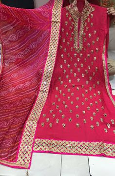 Rajasthani Gota Patti work Suits: Mirror work georgette suits for order WhatsApp and...