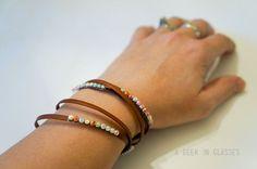 Rhinestone Leather Bracelet
