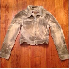 Bebe Beige Jacket With Tints Of Charcoal Colors.