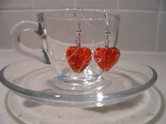 Original orange millefiori heart glass drop earrings by tcupcreations, $7.50
