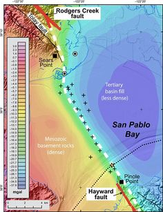 Hayward and neighboring Rodgers Creek faults are 188 miles long combined - and if they broke simultaneously they could produce a magnitude quake, researcher have warned. Earthquake Fault, San Pablo Bay, The Last Time, Wine Country, Geology, Earth Quake, San Francisco, Map, San Jose