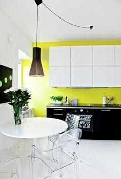 Yellow, black and white kitchen