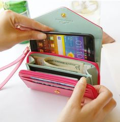 Mint Blue Smart Crown Style Pouch Wallet For