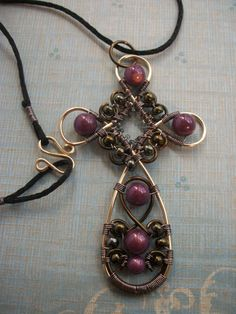 Wire+Wrapped+Cross+Pendant+in+Gold+and+by+BuyThePlaceWithBeads,+$15.00