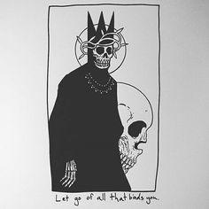 Let go of all that binds you. the king Tattoo Drawings, Body Art Tattoos, Art Drawings, Matt Bailey, Skeleton Art, Wow Art, Skull Art, Dark Art, Art Inspo