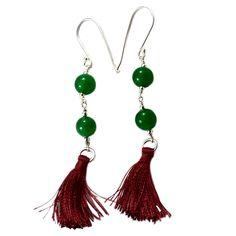 Silvesto India Quartz Green 925 Silver Sterling Pearls Tassel Earrings pg-18088   https://www.amazon.fr/dp/B01E8PPAGQ