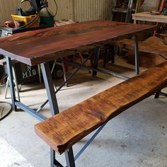 Recent commission, Live edge table & bench seats  With fabricated steel bases