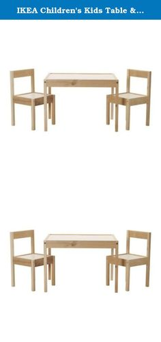 IKEA Children's Kids Table & 2 Chairs Set Furniture (1). Product Materials:Main parts: Fiberboard, Acrylic paint, Solid softwood Top rail/ Seat frame: Solid softwood Table top/ Seat: Fiberboard, Foil, Acrylic paint Care Instructions: Wipe clean with a damp cloth. Wipe dry with a clean cloth.
