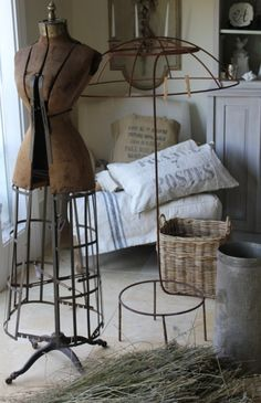 Antique Dress Form and Umbrella Stand Repinned by www.silver-and-grey.com