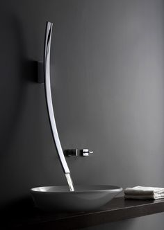Luxury and Modern Faucet with Lunar Effect – Luna Faucet - The Great Inspiration for Your Building Design - Home, Building, Furniture and Interior Design Ideas Bidet Wc, Sink Design, Bathroom Faucets, Concrete Bathroom, Bathroom Inspiration, Design Inspiration, Design Ideas, Polished Chrome, Basin