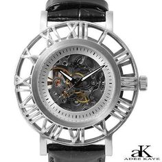 NEW AUTHENTIC ADEE KAYE SILVER STAINLESS STEEL AUTOMATIC WATCH RETAIL $590.00! Less than $150!!!