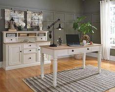"""The Sarvanny home office desk works a cottage chic aesthetic with warmth, charm and flair. Two-tone palette blends a classic """"farmhouse"""" cream with a naturally finished, lightly textured surface. Ample smooth-gliding drawer helps keep your work space free and clear."""