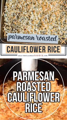 Parmesan Roasted Cauliflower Rice combines an easy and delicious vegetable side dish recipe with low carb cauliflower benefits! Low Carb Side Dishes, Veggie Side Dishes, Healthy Side Dishes, Vegetable Sides, Side Dish Recipes, Food Dishes, Low Calorie Sides, Beans Vegetable, Healthy Sides