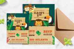 Safari Jungle Kid Birthday Flyer by Harrell Design Studio on @creativemarket