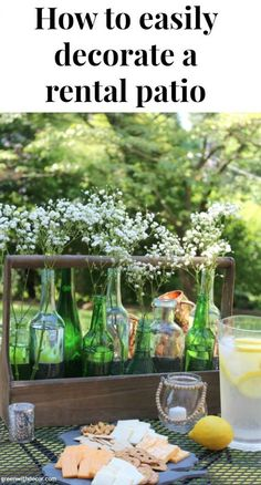How to easily decorate a rental patio | easy patio decorating ideas | summer centerpiece DIY | how to update an old patio | simple patio ideas | summer patio | old glass bottles DIY | old toolbox DIY