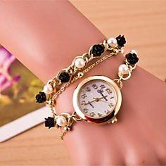 naisten pyöreä ruusukvartsi käsi ajojohto watch