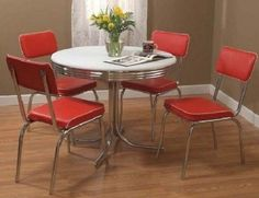 Retro Table Chairs Set Dining Vintage Kitchen Mid Century Modern 1950s Dinette…