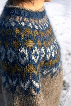 This Lopi Icelandic Sweater would be so cozy and warm on a cold day in the snow! Fair Isle Knitting Patterns, Fair Isle Pattern, Knit Patterns, Icelandic Sweaters, Knitting For Beginners, Pulls, Knitting Projects, Hand Knitting, Knit Crochet