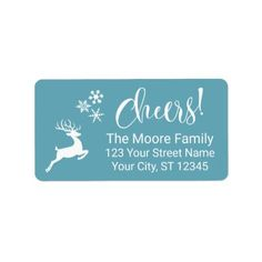 "White ""Cheers!"" w/ Reindeer & Snowflakes Label - Xmas ChristmasEve Christmas Eve Christmas merry xmas family kids gifts holidays Santa"