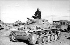 A Panzer II of the Panzer Division in Africa. This Panzer II is being used as an artillery observation vehicle, and as such has its main gun replaced with a dummy to make room for the extra radio equipment. Panzer Ii, German Soldier, German Army, Luftwaffe, Afrika Corps, Mg 34, North African Campaign, History Online, Ww2 Tanks