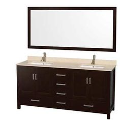 "Wyndham Collection WCS141472DESIVUNSM70 72"" Freestanding Hardwood Vanity Cabinet"