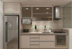 Cozinha pequena e cha. Basement Kitchen, Condo Kitchen, Modern Kitchen Cabinets, Apartment Kitchen, Home Decor Kitchen, Kitchen Furniture, Kitchen Interior, Home Interior Design, Home Kitchens