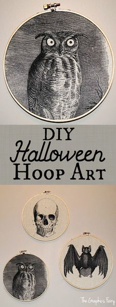 Craft Project - Vintage Halloween Hoop Fabric Art Tutorial. Fun and easy DIY wall decor idea!
