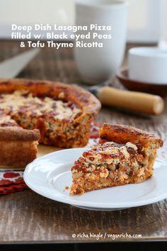 Black Eyed Peas, Tofu Thyme Ricotta, Deep Dish Pizza. Vegan Recipe | Vegan Richa