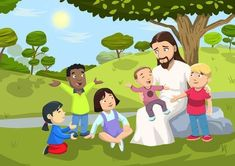 """""""Jesus Loves The Little Children Mural"""" Children's Church Easy Stick Mural-Just peel & stick to any Sunday School wall & your classroom will instantly be a fun & comforting place. Kids Church Rooms, Church Nursery, Sunday School Classroom, Sunday School Activities, Church Activities, Jesus Cartoon, Cartoon Kids, Bible Crafts, Bible Art"""
