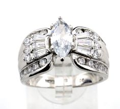 Silver 925 cz Cocktail Ring size 10.25 9.7.7g SC. #Unbranded #Cocktail