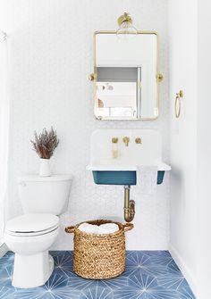 Space Saving Bathroom, Corner Sink Bathroom, White Bathroom Tiles, Hall Bathroom, Bathroom Floor Tiles, Bathroom Wallpaper, Bathroom Fixtures, Modern Bathroom, Bathroom Ideas
