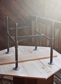 pipe table legs maybe for a circular table between blue chairs? - Patio Table - Ideas of Patio Table Diy Furniture Building, Pipe Furniture, Furniture Projects, Industrial Furniture, Furniture Cleaning, Furniture Dolly, Furniture Vintage, Furniture Stores, Cheap Furniture