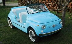1969 Fiat 500 Mare, source: RM Auctions Looks like our golf carts here in CA. Used Golf Carts, Custom Golf Carts, Fiat 500 Car, Fiat 600, Vespa, Bicycle Cart, Beach Cars, Pedal Cars, Cute Cars