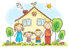 Buy Family with Two Children Near Their House by katya_dav on GraphicRiver. Family with two children near their house, cartoon graphics, vector illustration Art Drawings For Kids, Drawing For Kids, Easy Drawings, Art For Kids, Cartoon Cartoon, Cartoon Drawings, Clipart, Cartoon Familie, Family Drawing