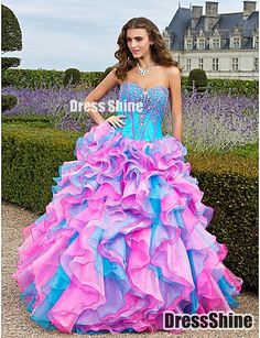 Fabulous Ball Gown Sweetheart Floor-length Organza With Beaded Embroidery And Cascading Ruffles Prom Dress